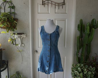 Vintage 1990s denim button up skater dress