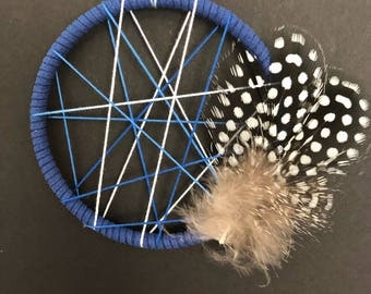 Small dream catcher blue abrastract with feathers