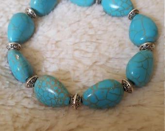 Handmade womens turquoise howlite, turquoise howlite, gemstone bracelet, women's accessory