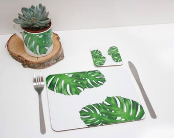 Tropical Cheese leaf Placemat | Tabletmat set | Jungle Placemat | Table Setting | Modern Home | Flower Placemats | Place mat