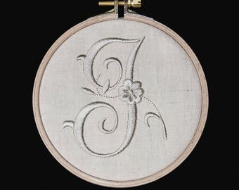 J: your initial.  Beautiful embroidery that evokes the old linen.