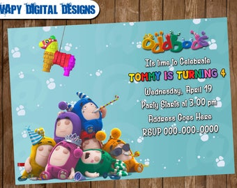 Oddbods Digital Party invitation customize invite birthday thank you card