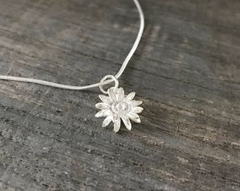 Silver necklace with 3D flower Silver 925