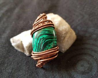 Malachite coppet wire wrap pendant