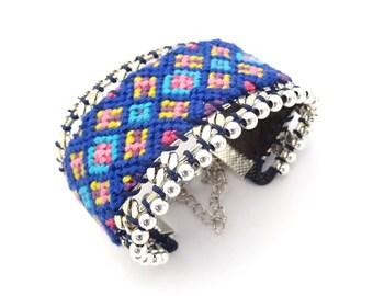 SAN DIEGO No. 7 Navy pink yellow purple Friendship Bracelet