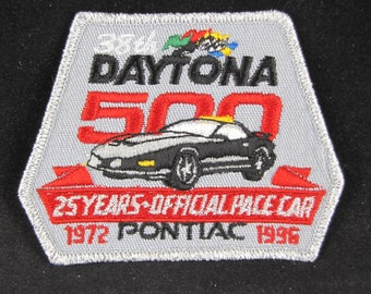 1996 Vintage 38th Daytona 500 Race Patch // 25 Years Pontiac Official Race Car 1972 to 1996