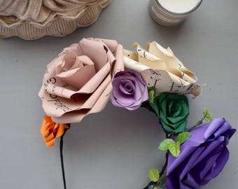 Flower Crown made from Paper Roses, Music Sheet, Purple, Green, Orange, Bridal Accessories, Partywear, Flower Girl,  Festival