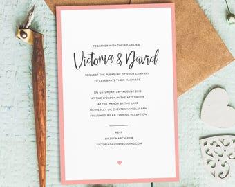 simple wedding invitation simple wedding invites affordable wedding invitations cheap wedding invitation - Cute Wedding Invitations
