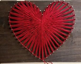 string art heart etsy. Black Bedroom Furniture Sets. Home Design Ideas