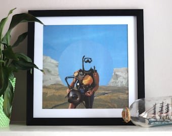 Desert Diver - Digital Collage Art Print Poster