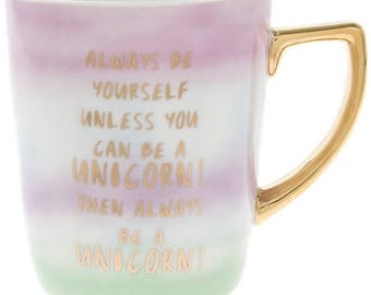 Pastel Pearl Unicorn Lover Quote large Mug with Gold Lettering and Matching Handle