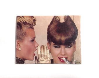 Large Magnet 1980's Hair 80's Fashion Hairdresser Gift Hair Salon Decor OOAK Fridge Magnet Kitsch Sculptural Hairdo - Magnet No QC-07