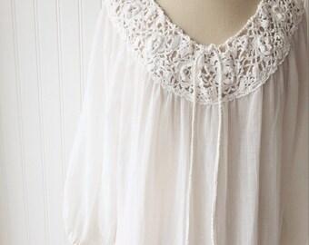 1970s Vintage Cotton Gauze Dress