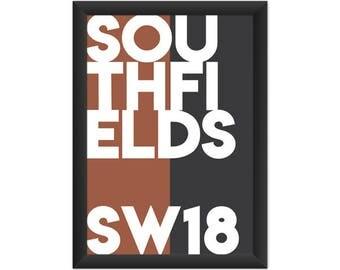 Southfields Typography SW18 - Giclée Art Print - South London Poster
