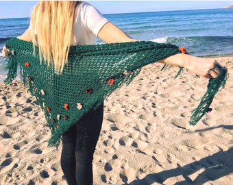 Crochet shawl, stole, triangle. Hand-crafted