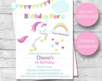 Unicorn Invitation Unicorn Invites Unicorn Birthday - Birthday invitation nz
