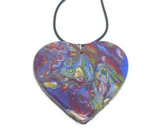 Wearable Art, Valentines Gift, Acrylic Art Pendant, Fluid Art Necklace, Rainbow Jewellery, Heart Shaped, Resin Jewellery, Costume Jewellery