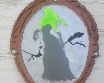 OOAK, Horror Wall Art,  Zombie, zombie girl, living dead, undead, broken mirror, Monster, glow in the dark, Halloween Home Decor
