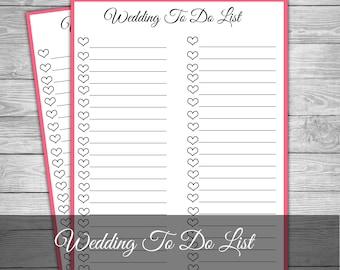 Wedding To Do List, Wedding Checklist, Wedding Banner, Wedding Organiser,  Wedding Notepad