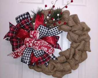 Brown Burlap with plaid winter bow & bells