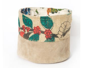 Basket round bi-material leather and jute