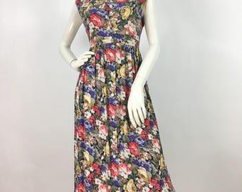1980s floral maxi dress/80s floral maxi