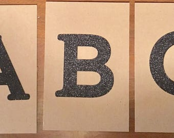 Textured Letter Cards - A-Z, Serif-style