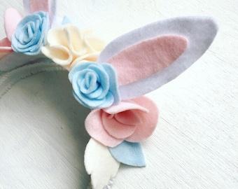 Easter bunny headband, baby headband, bunny ears, flower crown