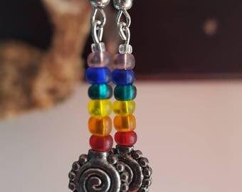 Rainbow spiral earrings