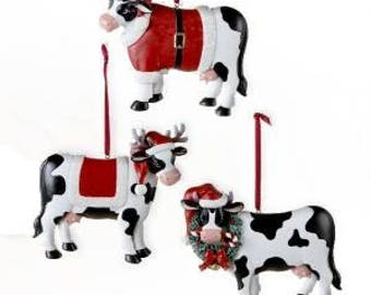 Cows Personalized Christmas Ornament- Each Sold Separately