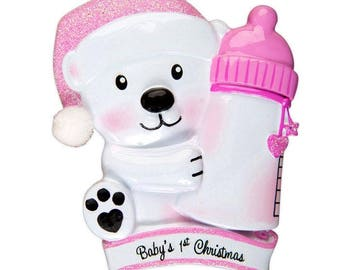 Baby Bear Holding Bottle - Pink Personalized Christmas Ornament