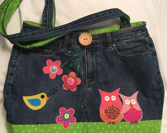 Recycled Jeans and Owls Tote Bag