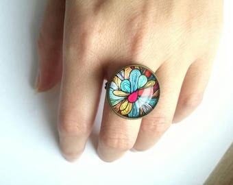 Cabochon colorful ring