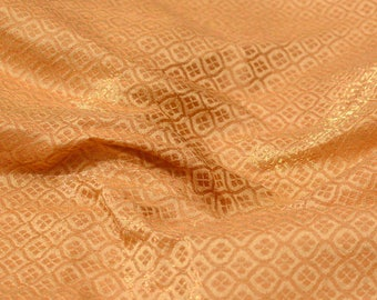 Golden uniquely designed brocade silk fabric-665