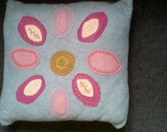 Wool felt cushion blue floral Folk Art