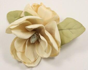 Cream Magnolia Hair Flower Duo