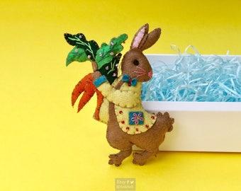 "5.5"" hand stitched hare rabbit bunny hanging / felted felt bunny decoration / felt hanging ornament chic felt / easter primitive decor"