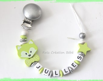 Pacifier Fox lime wood and silver