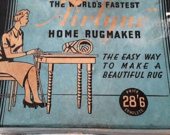 Rugmaker, vintage home craft, Airlyne rug maker in original box with instructions and accessories.