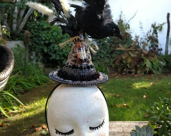 "Witch hat Mini hat Halloween fasinator on headband. ""Caw,Caw"" is a handmade mini hat with a large Raven on top. One of a kind! Costume too!"
