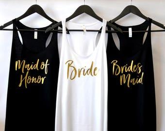 Bride Tank Top, Maid of Honor Tank Top, Bridesmaid Tank, Bride Shirt, Bridal Party Shirts, Bridesmaid Gifts, Bachelorette Party Shirts, MOH