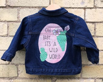 Handpainted Kid's Denim Jacket 6-12m Cactus