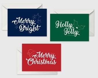 Set of 3 Christmas cards, Christmas card, Greeting cards, Xmas card, Greeting Cards, Multiple pack cards, Pack of Christmas Cards
