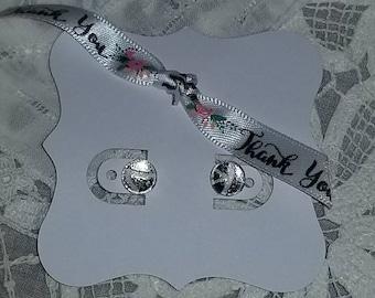 Silver & White Stud Earrings