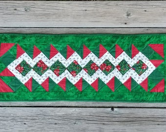 Christmas Table runner #3 - Greens, Reds and White