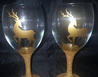 Reindeer glitter glass, Christmas reindeer, reindeer glasses, glitter glass gifts, glass sets, Christmas glassware, glassware gifts