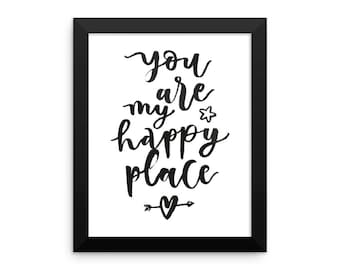 You Are My Happy Place Framed poster   Wall Decor   Wall Art   Valentine's Day Art   Gift for Her   Gift for Wife