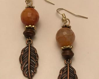 Fire agate stone earrings