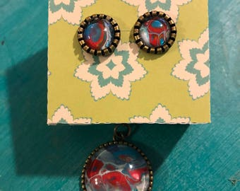 pendant necklace and earring set, handpainted pendant, antique bronze, earrings, necklace, red, teal, colorful, tree of life