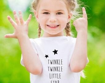 unisex child gift, twinkle star tee, unisex kid present, unisex childrens tee, twinkle little star, nordic kids gift, scandi kids gift